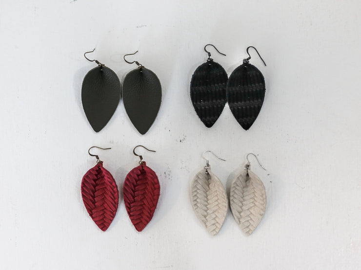 Leather Leaf Earrings - Cloth + Cabin