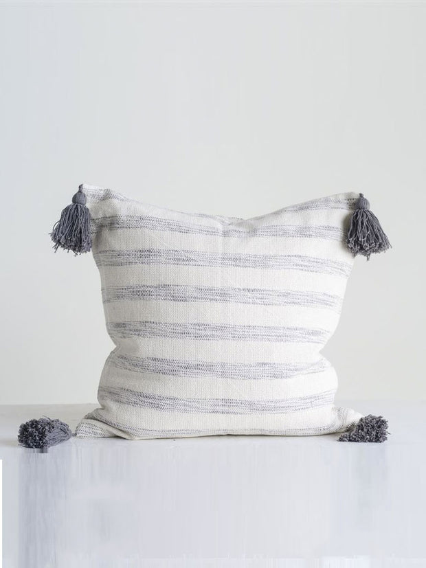 Cecelia Grey Striped Tassel Pillow - Cloth + Cabin