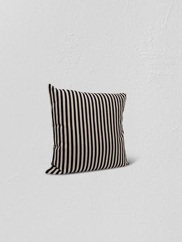 "Charlotte 26"" Black + White Striped Cushion - Cloth + Cabin"