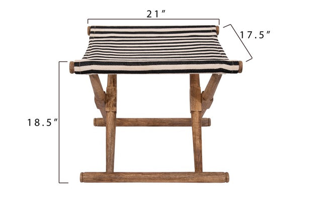 Black + White Striped Folding Mango Wood Stool - Cloth + Cabin