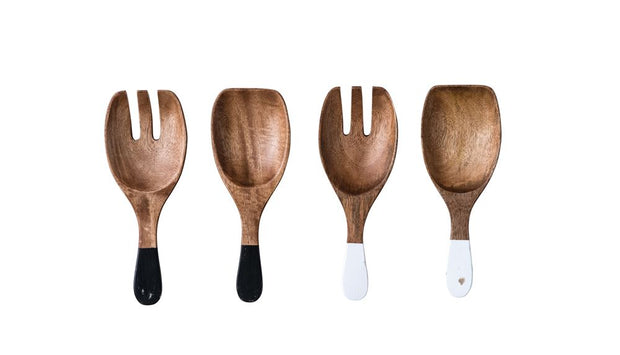 Hand Carved Wood Salad Servers - Cloth + Cabin