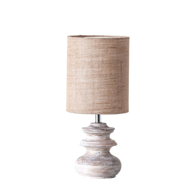 Mango Wood Table Lamp with Jute Shade - Cloth + Cabin