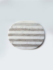 Oval Grey + White Striped Marble Cheese/Cutting Board - Cloth + Cabin