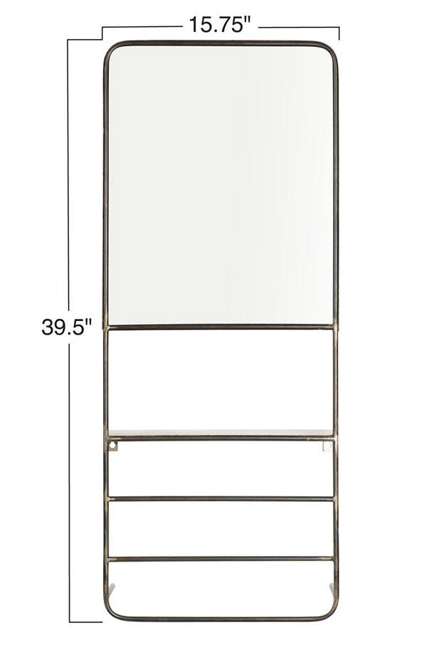 Black Metal Wall Mirror with Rods + Shelf - Cloth + Cabin