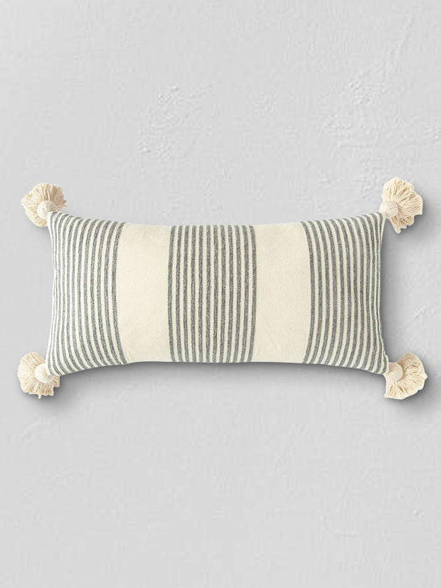"Molly 27"" Grey + White Striped Lumbar Pillow - Cloth + Cabin"