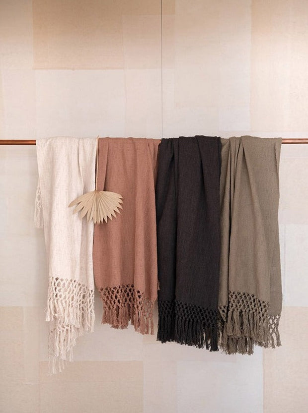 Woven Cotton Throw w/ Crochet & Fringe - Cloth + Cabin