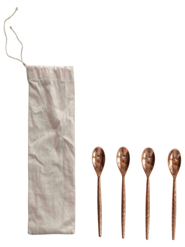 Stainless Steel Spoons, Copper Finish, Set of 4 in Drawstring Bag - Cloth + Cabin