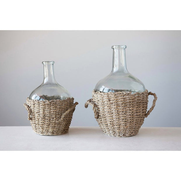 Glass Bottles in Seagrass Basket w/ Handles / Set of 2 - Cloth + Cabin