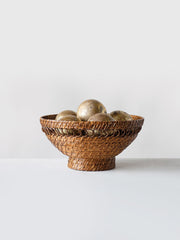 Woven Rattan Footed Bowl - Cloth + Cabin
