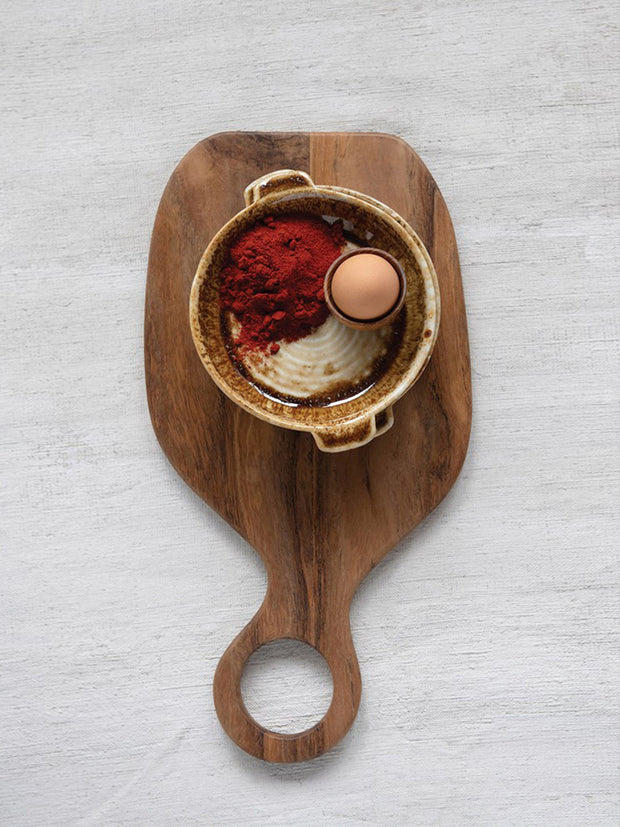 Teak Wood Cheese/Cutting Board with Round Handle - Cloth + Cabin