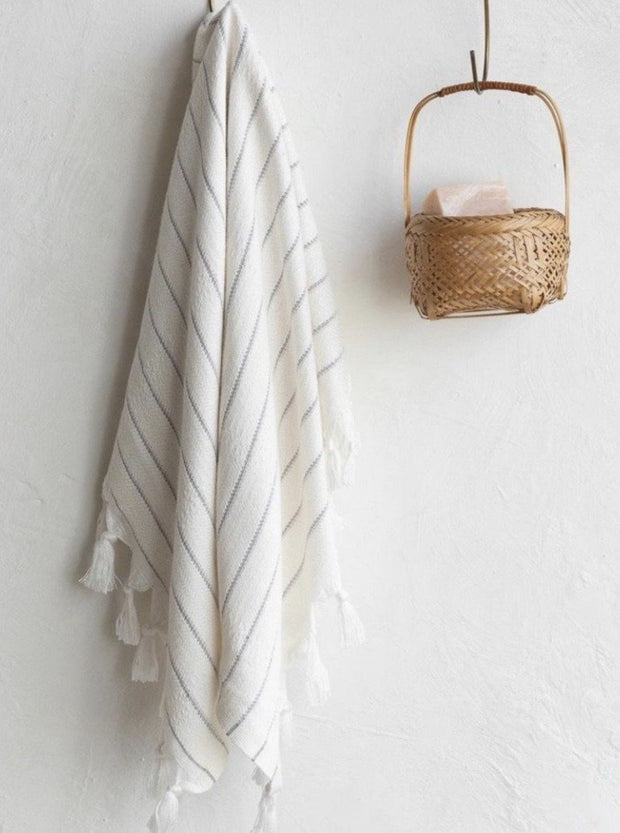 Deniz Grey Stripe Turkish Towels