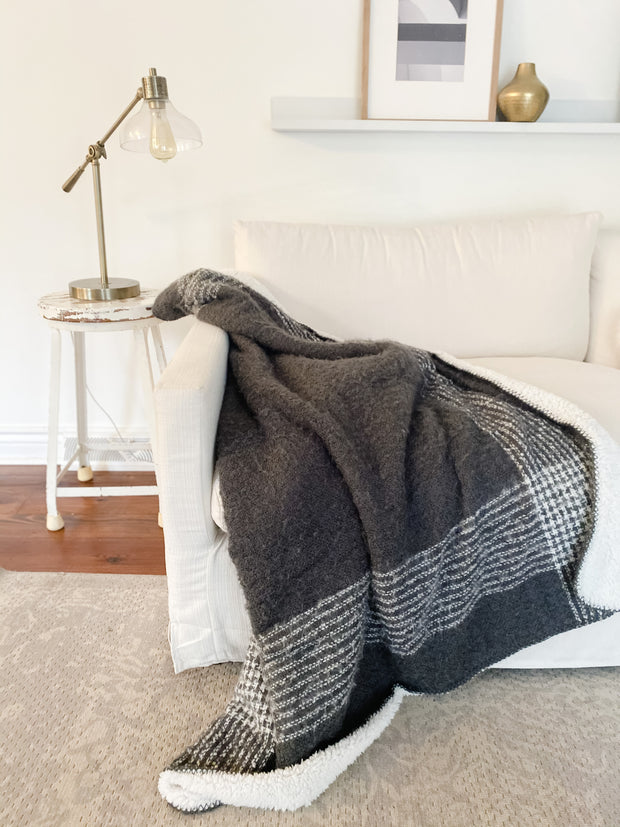 Bailey Plaid Mohair + Sherpa Throw