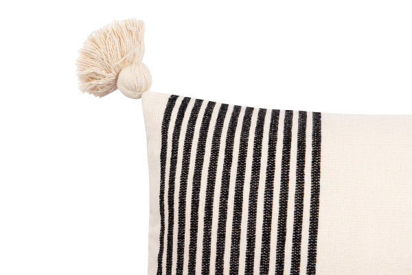 "Molly 27"" Black + White Striped Lumbar Pillow - Cloth + Cabin"