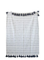 Cecelia Grey Stripe Tassel Throw - Cloth + Cabin