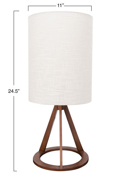 Geometric Wood Table Lamp with Linen Shade - Cloth + Cabin