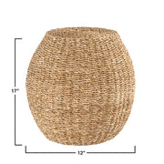 Handwoven Seagrass Stool with Metal Frame - Cloth + Cabin