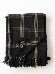 Black + Tan Plaid Fringed Throw