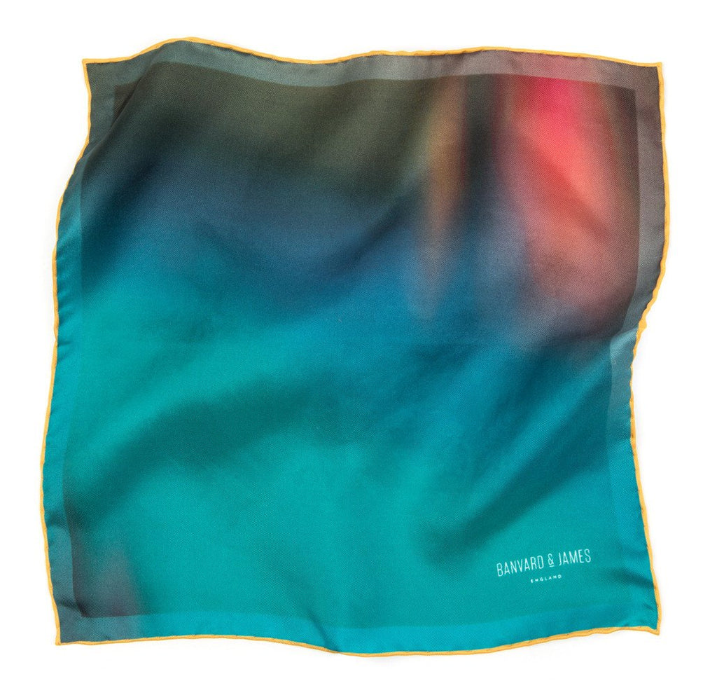 Teal & Yellow Ashwood Pocket Square