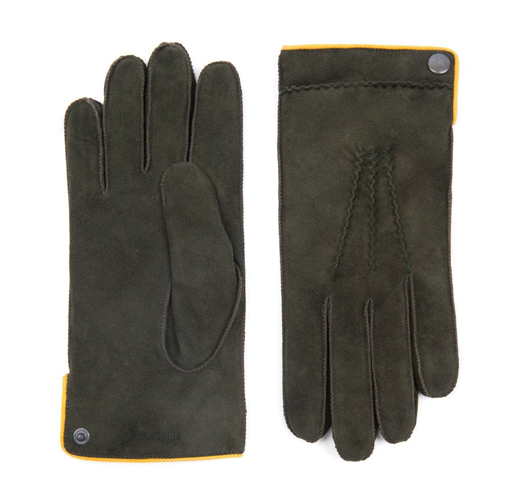Dark Green Buckland Suede Gloves - Banvard & James