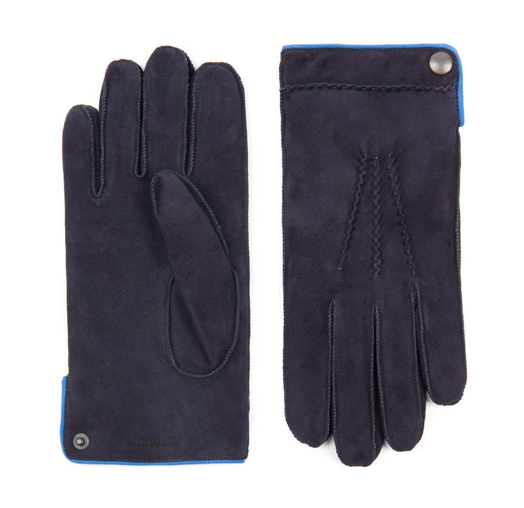 Navy Buckland Suede Gloves