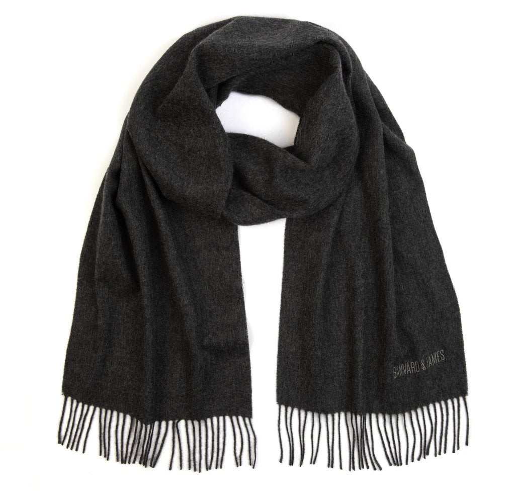 NEW Charcoal Grey Pure Cashmere Sandford Scarf