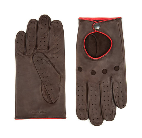 Chocolate Brown Furness Leather Driving Gloves