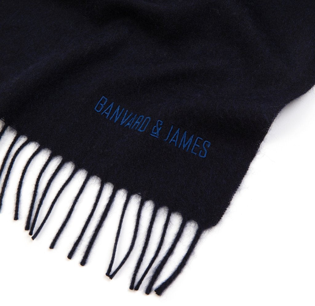 NEW Navy Pure Cashmere Sandford Scarf