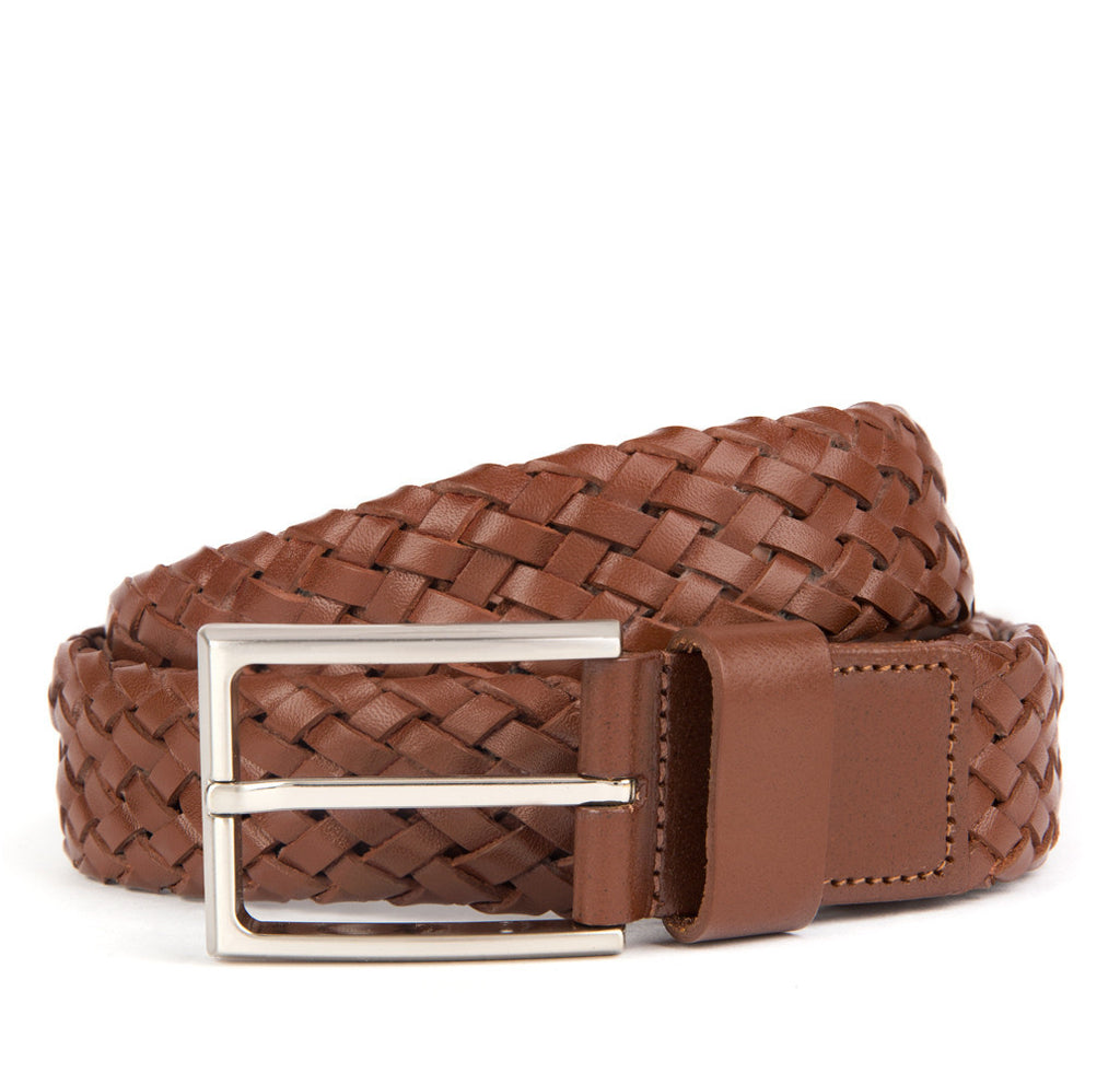 Brown Payton Woven Leather Belt - Banvard & James