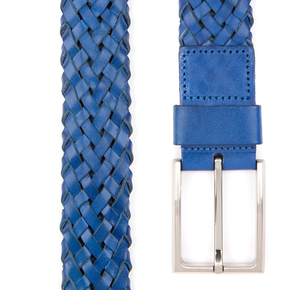 Blue Payton Woven Leather Belt - Banvard & James