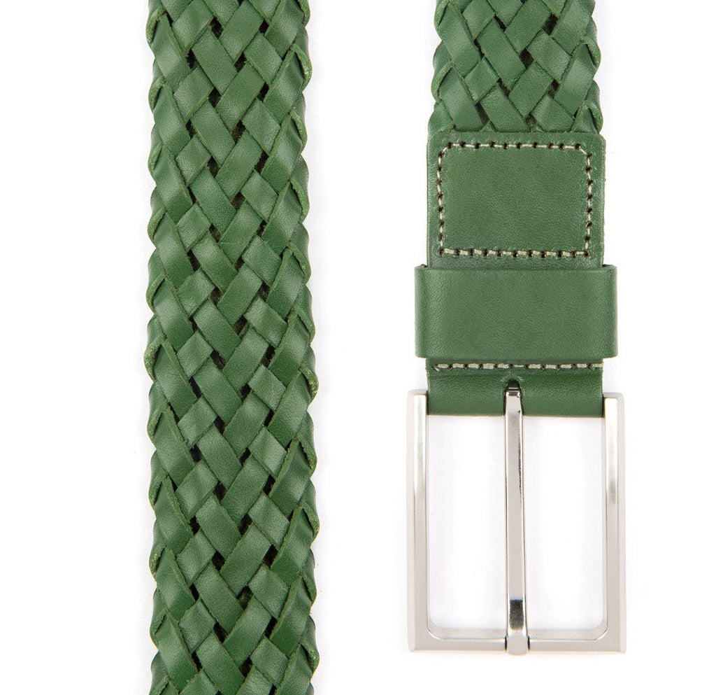 Green Payton Woven Leather Belt