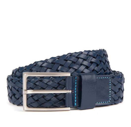 Navy Payton Woven Leather Belt