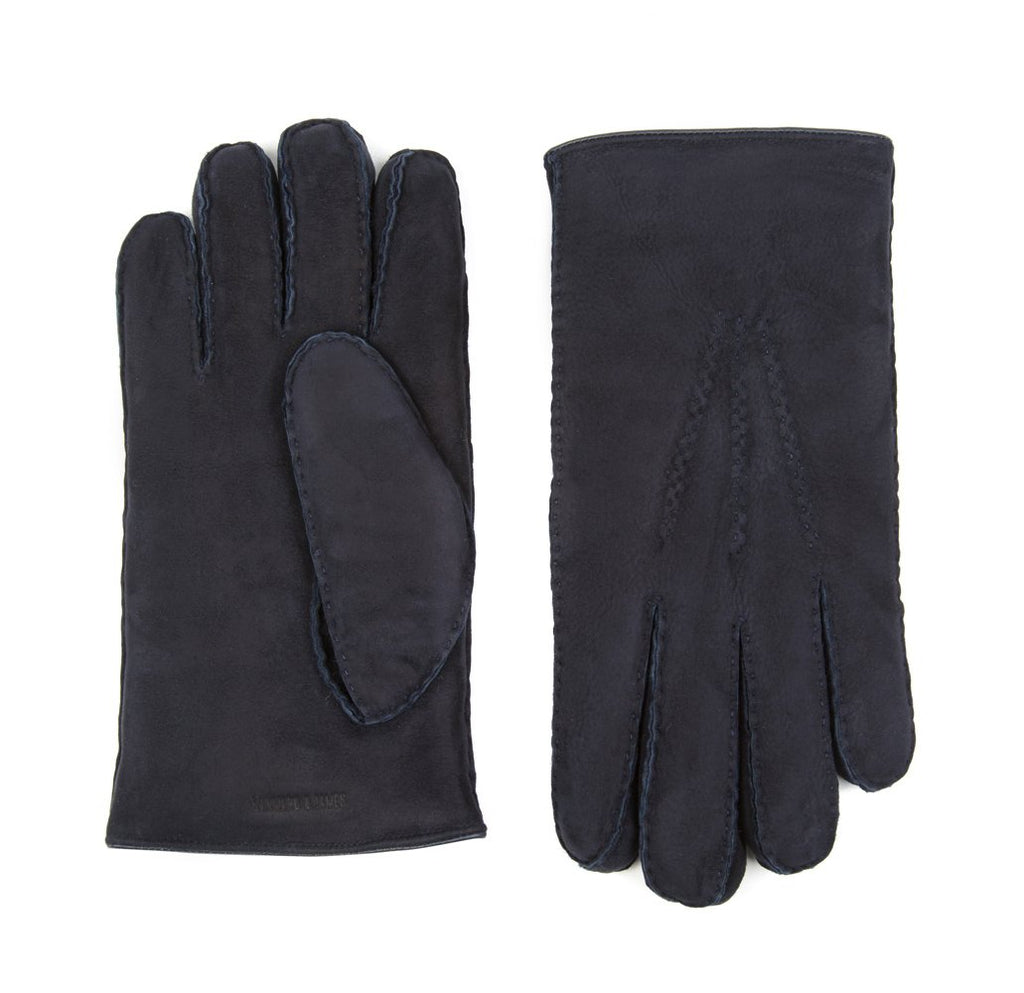 Navy Astor Shearling Gloves