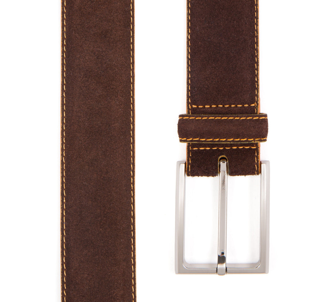 Chocolate Brown Huxley Suede Belt - Banvard & James