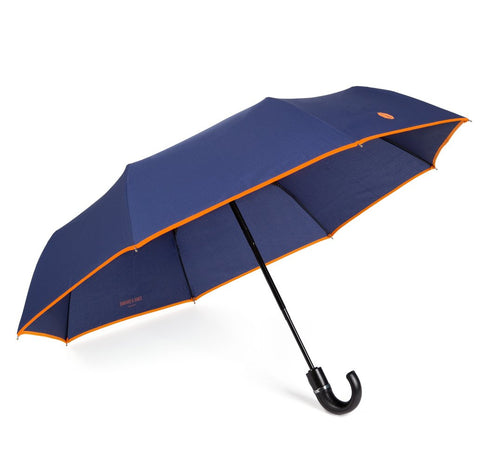 NEW Navy & Orange Roscoe Telescopic Umbrella