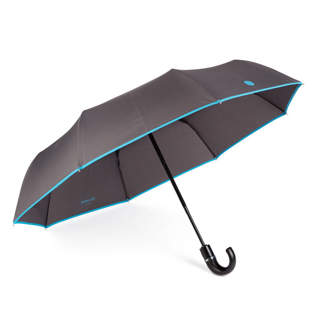 Charcoal & Blue Roscoe Telescopic Umbrella - Banvard & James