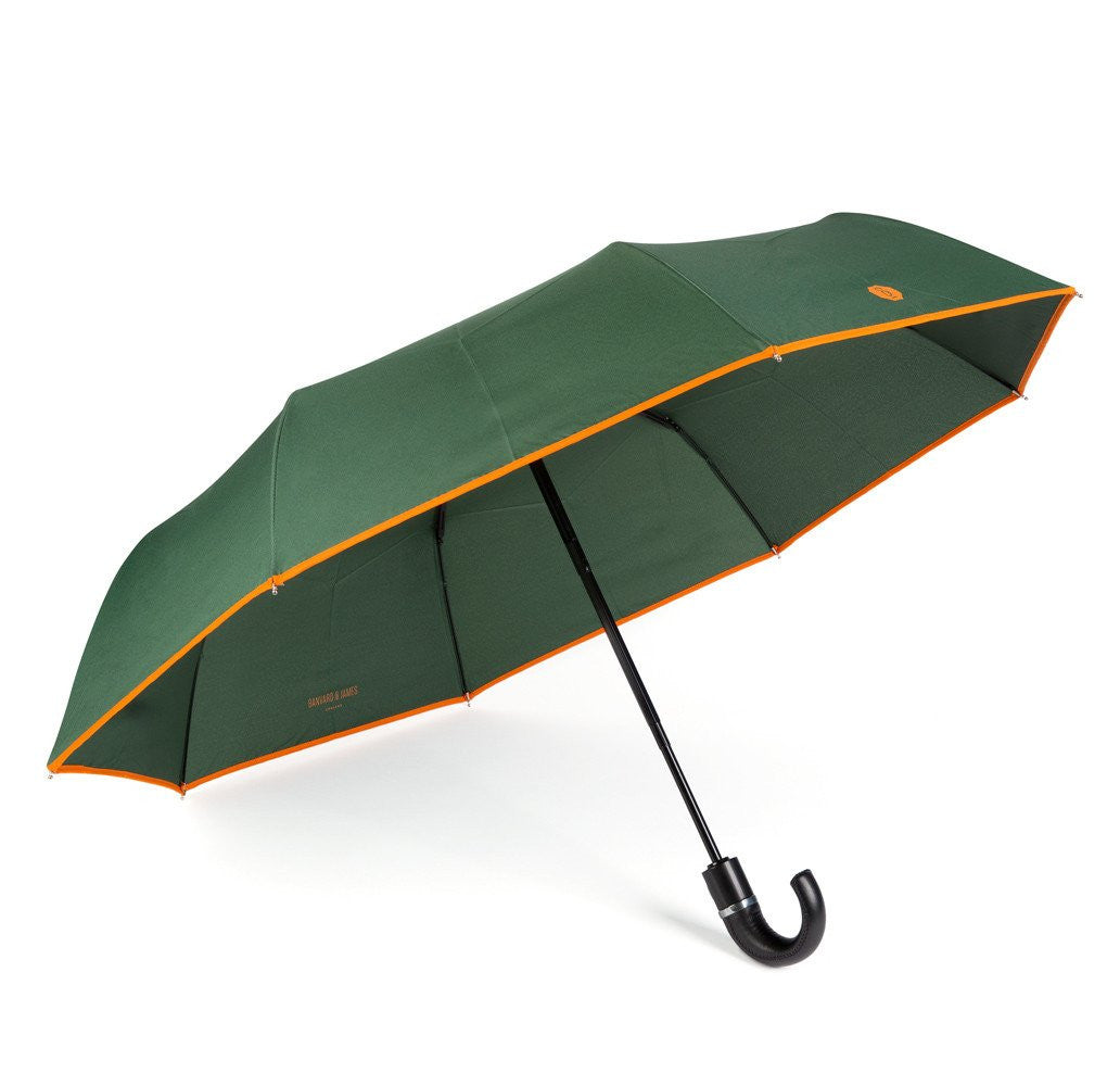 Dark Green & Orange Roscoe Telescopic Umbrella - Banvard & James