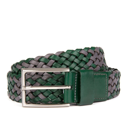 Grey and Green Payton Woven Leather Belt