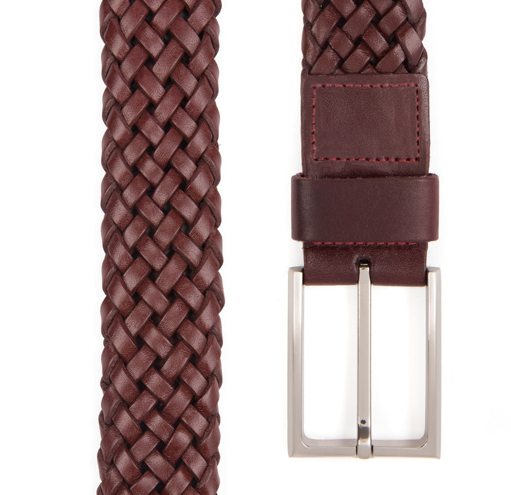 Burgundy Payton Woven Leather Belt - Banvard & James
