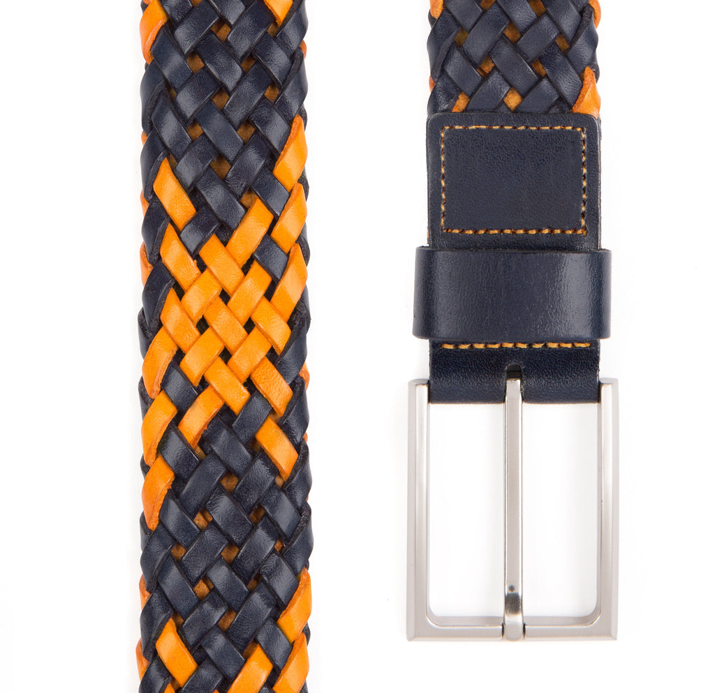 Navy and Orange Payton Woven Leather Belt