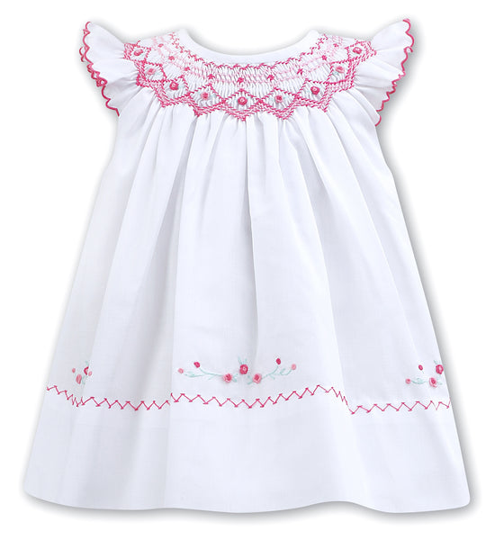 Girls White Pink Hand Smocked Dress
