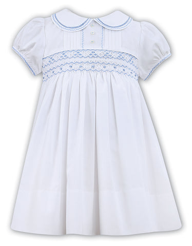 Classic White Pleated Dress with Blue Smocking