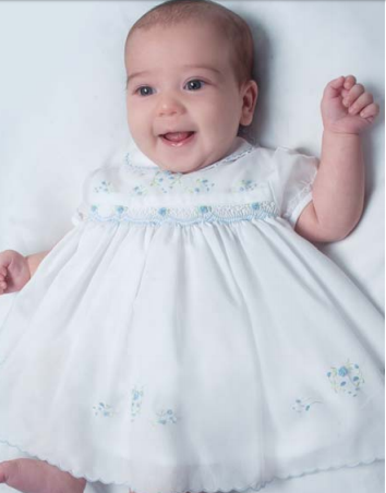 Baby Girls White Smocked Dress with Embroidered Blue Flowers
