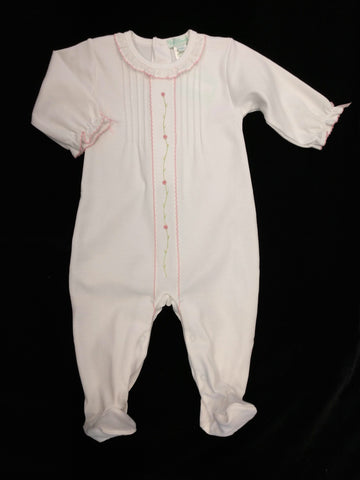Baby Girls White Hand Embroidered Footie/Longall