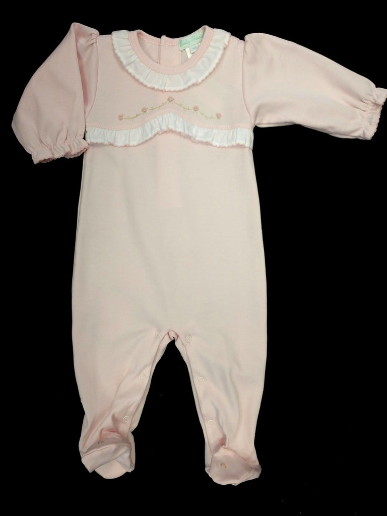 Baby Girls Pink Ruffle Footie/Longall