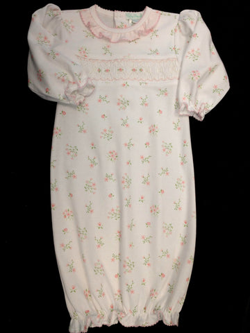 Newborn Girls Smocked Floral Gown