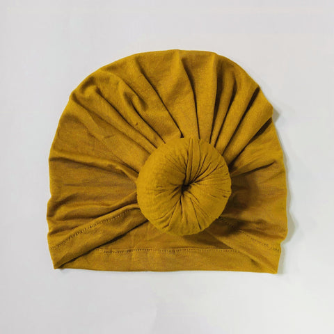 Sugar + Maple Baby Top Knot Hat - Mustard