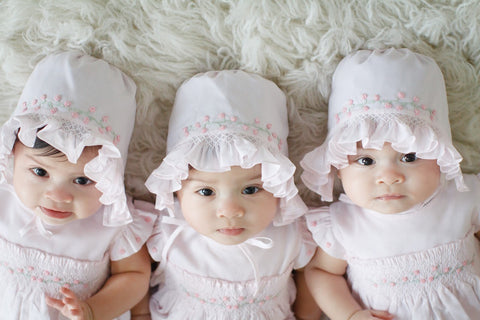 Girls Rose Garden Smocked Bonnet