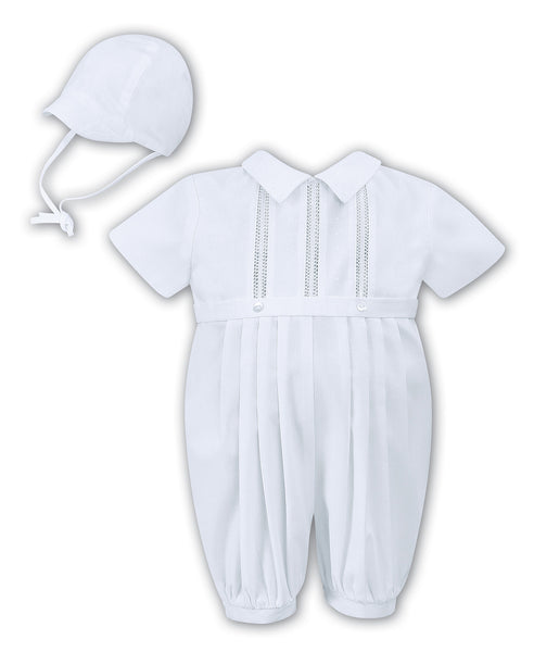 Boys White Christening Romper & Hat