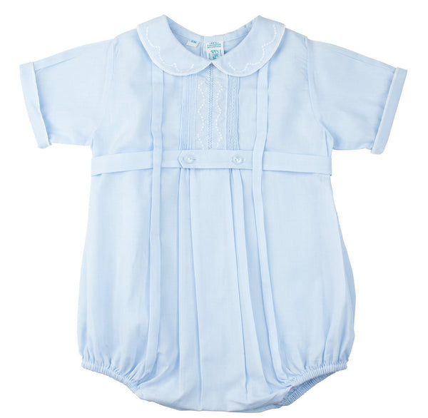 Baby Boys Belted Bubble With Pintucks and Embroidery
