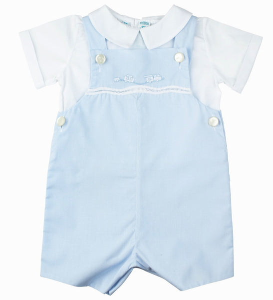 Baby Boys 2 piece Shortall with Appliqued Train